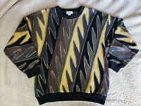 Vintage Tundra Norm Thompson Coogi Style sweater  black Multicolored textured L