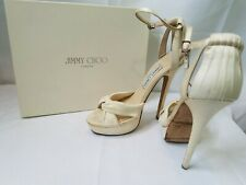 Jimmy Choo 39/9 Satin Ivory Ultra High Heels w box