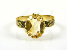 Victorian 14k Yellow Gold Sterling Silver Natural 2ct Oval Citrine Ring I064C