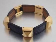 Auth HERMES Circle V(1992) Medor Bangle Bracelet Python Leather/Metal - e41430