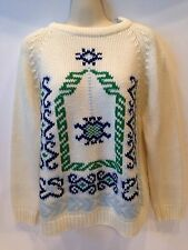 Vintage Christmas Sweater Cream Blue Green Size M Carol Brent Montgomery Ward