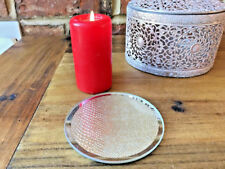 Vintage Gold Textured Mirrored Glass Mirror Church Pillar Candle Holder Plate