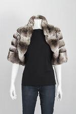 UNBRANDED Gray Chinchilla Fur Short Sleeve Shawl Collar Bolero Shrug Jacket M