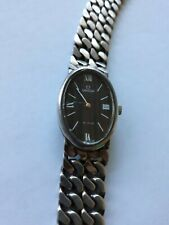 Vintage Omega Sterling Silver Watch De Ville Swiss Chain Link Band Ladies Works