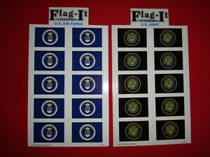 20 US Military Decals Stickers: 10 U.S. AIR FORCE + ARMY