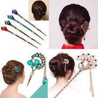 Women Ladies Metal Rhinestone Handmade Hair Stick Chopsticks Hairpin Pin Chignon