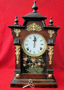 1890 Signed Junghans Three Finial Shelf Clock--Strikes Hours On Gong