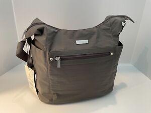 NWT $85 Baggallini Pewter Gray Nylon Hobo Tote Handbag Bag Lots 'o Pockets!