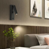 3W CREE LED Bedside Lamp Fixture Wall Light With USB Charging Port Hidden Switch