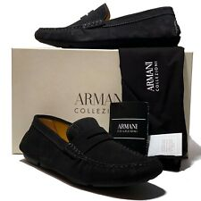 Armani Black Driver's 9 42 Men's Leather Penny Loafers Suede Shoes Casual