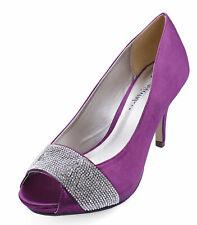 Para mujer púrpura Raso Nupcial Novia Dama De Honor Fiesta Baile de graduación Peeptoe Boda Zapatos 3-8
