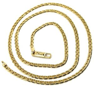 """SOLID 18K GOLD GOURMETTE CUBAN CURB 18K YELLOW GOLD CHAIN OVAL WAVE 2.5mm, 24"""""""