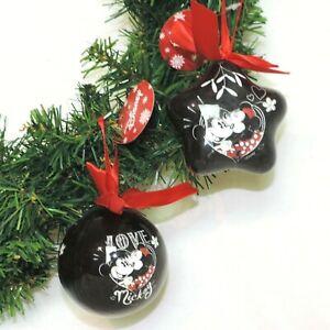 DISNEY 2er SET Ornament * MICKEY & MINNIE * Stern + Kugel Weihnachten SCHWARZ