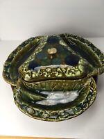 vintage mccoy pottery Lazy Susan Chip Dip Complete Set Blue Green Kitchen Decor