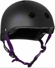 S-One Helmets - Lifer Matte Black with Purple Straps -  S1 Lifer Certified Helme