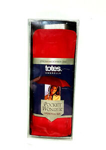 Isotoner Totes Purse Poket Wonder Full Size Red Umbrella with Case New in Box