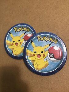 Pikachu Pokémon Core Birthday Party Plates 8 Count Packs 2017 Designware LOT x2