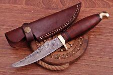 "Beautiful Handmade Damascus Steel Skinner Hunting Knife ""Walnut Wood Handle"""