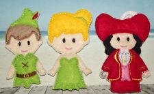Handmade Finger Puppets - Peter Pan / Tinkerbell / Captain Hook  - DISNEY