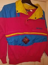 vtg grunge festival shell track jacket pink yellow ladies size 8 10 12 half zip