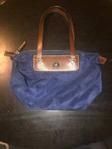 Dooney and Bourke Nylon Tote Bag-Navy Blue with Brown Leather Trim
