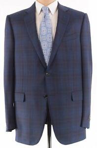 Ermenegildo Zegna NWT Sport Coat 56 46L US Blue & Red Plaid Milano $2,495 Achill