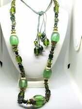 """Vintage Tribal Style Heavy 50"""" Glass & Resin Green Chunky Bead Adjust.Necklace"""
