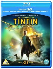 The Adventures Of Tintin - Secret of Unicorn (3D + 2D Blu-ray, Region Free) NEW