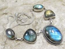 925 Sterling Silver Overlay NECKLACE Jewelry | LABRADORITE 18 inch B25-005