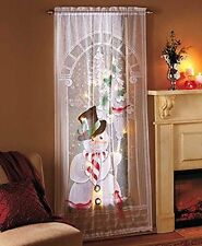 Decorative LED Lighted Christmas Snowman Lace Window Sheer Curtain Panel Holiday