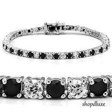 "5.50 CT ROUND CUT CLEAR & BLACK AAA CUBIC ZIRCONIA 7"" TENNIS BRACELET"