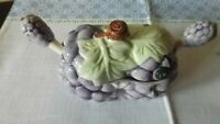 VINTAGE DEVIDED JELLY CONDIMENT DISH WITH 2 SPOONS GRAPE PATTERN