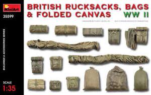 Miniart 35599 - 1/35 British Rucksacks, Bags and Folded Canvas WW II Scale Model