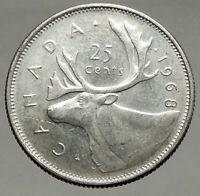 1968 CANADA United Kingdom Queen Elizabeth II CARIBOU Silver 25 Cent Coin i56666