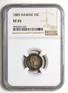 1883 Hawaii 10 Cents NGC Certified VF25 *silver*