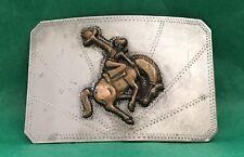 VTG RICARDO American BUCKING BRONCO Nickel Silver 🤠 COWBOY 🤠 Rodeo BELT BUCKLE