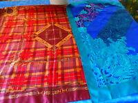 lot=  2 BEAUX ET  grands foulards VINTAGE ROUGE ET BLEU 79x79cm