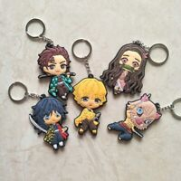 Anime Demon Slayer Soft Glue Double-sided Pendant Keychain Small Key Chain Ring