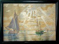 Gustav BURGHARDT (1890-c.1970) Aquarell:  SEGELBOOTE AUF DER ELBE BEI HAMBURG