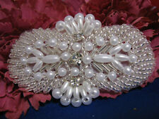 3X2 Inch Pearl Beaded Rhinestone Applique 2359-C