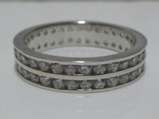 Brand New Womens Sterling Silver Cz Eternity Engagement Ring Double Band Sz 7