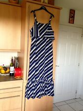 New M&S Collection Ladies Striped Cold Shoulder Flare Maxi Dress,Boho UK12 Blue