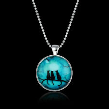 "3 Black Cats Full Moon Cabochon Tibet Silver 18 "" Chain  Necklace Gift"