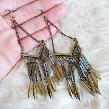 Vintage Womens Antique-Color Beads Boho Bohemian Hippies Fringed Dangle Earrings