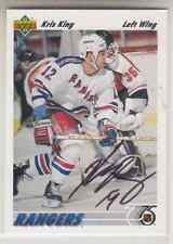 Autographed 91/92 Upper Deck Kris King - Rangers