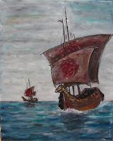 game of thrones TARGARYEN Sail painting ship seascape 16x20 original Crowell