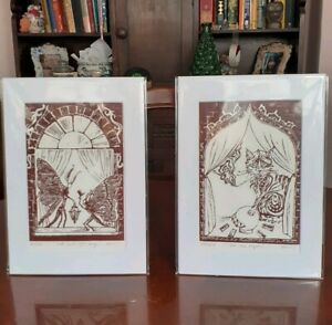 Fairytale moth Lino print entitled 'With Love's Light Wings' & Mystic Cat pair.