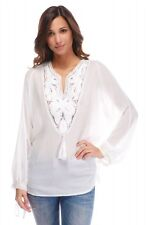 BRIEFLY PARIS FLORENCE BOHO WHITE BLOUSE TOP SIZE UK 14/16