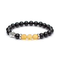Citrine Bracelet with Hamsa Stretch Fit Black Onyx Solar Plexus Chakra Unisex
