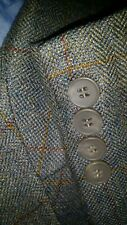 Plaid Tweed silky Wool donegal Check Men 2pc Suit Jacket 42L Pleated Pants 32